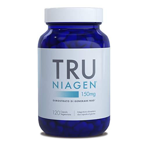 TRU NIAGEN Cloruro di riboside di nicotinamide - Precursore brevettato NAD per la riduzione della stanchezza e dell'affaticamento, 150mg Capsule vegetariane, 300mg per porzione, Bottiglia da 60giorni