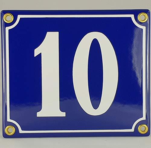 Hausnummer Emaille Schild Nr. 10 Blau-Weiß