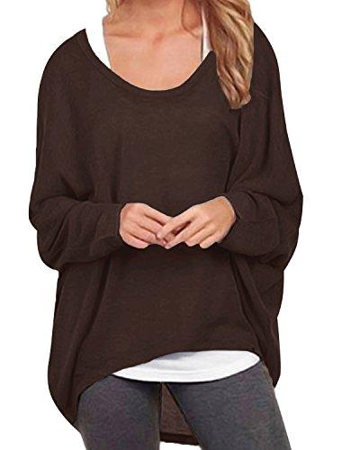 ZANZEA Damen Lose Asymmetrisch Jumper Sweatshirt Pullover Bluse Oberteile Oversize Tops Y-Kaffee EU 38-40/Etikettgröße M
