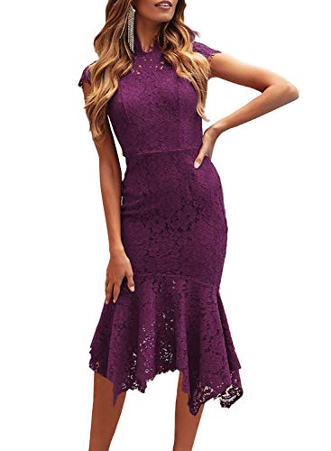 ZESICA Women's Retro Lace Floral Sleeveless High Neck Mermaid Cocktail Evening Party Dress Purple