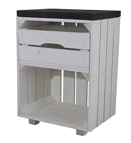 Vintage Möbel 24 GmbH Nachttisch Holzkisten mit Schublade, als Beistelltisch zur Aufbewahrung, DIY Wohnzimmer, neu, 40x57x30cm (Weiß/Schwarz)