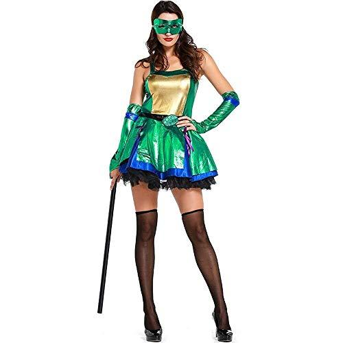 SAIPULIN Halloween-Kostüm, modernes Tanz-Kostüm, Halloween-Kleider, Grünes Teenage Mutant Ninja Turtle Cosplay Kostüm