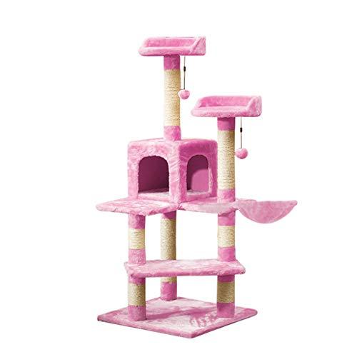 Zhou Cafe Katze Klettergerüst, Cat Theme Store Sprungplattform Spielzeug Katzenkratzbrett Multifunktions Kratzbaum yan (Color : Pink)