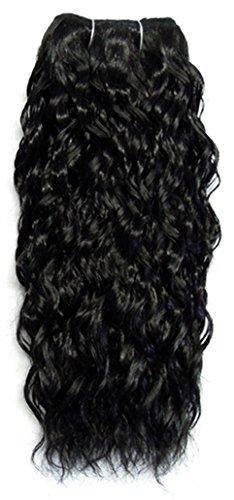 Sans chear vague trame Extension de cheveux humains avec de mélange tissage, numéro 1b, noir, 46 cm