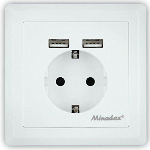 Minadax Schutzkontakt Steckdose 230V 220V mit 2 x USB, Passt in Standard Unterputzdose, Laden aller mobilen Geräte Ipod Iphone Ipad Smartphone MP3 unterputz
