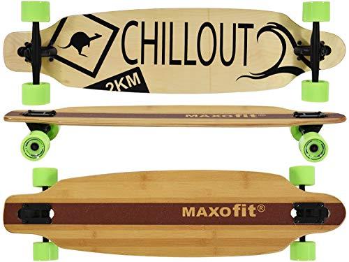 MAXOfit Deluxe Longboard Chillout No.19, Drop Through, 103 cm, 9 Strati di Acero Canadese di pregio, ABEC11