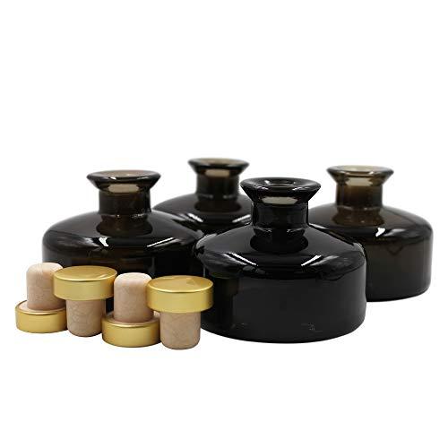 Frandy House Frascos difusores de vidrio negro con tapas de corcho doradas, juego de 4 – 2.75 pulgadas de alto, 150 ml 5.5 oz. Accesorios de fragancia Uso para DIY Reed Difusor de Reed.