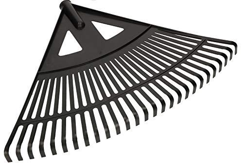 KOTARBAU® Robuster Rechen 580 mm Laubbesen Laubharke Fächerbesen Laubfeger Laubfächer Laubrechen aus Kunststoff Schwarz ohne Stiel