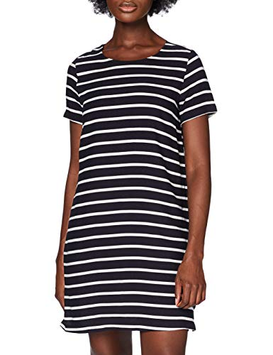 ONLY Damen onlFIRST SS AOP Dress WVN Kleid, Mehrfarbig (Night Sky Stripes:Cloud Dancer Stripes), 36