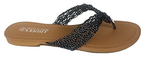 Elegant Women's Fashion Casual Thong Black Flat Sandals Black 6, M US