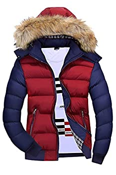 Mr.Stream Men s Classic Contrast Fashion Winter Hooded Jacket Casual Windproof Coat Warm Outdoor Parka US M=Tag Asia 4XL Red Blue