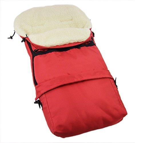Rawstyle 3 in 1 Winterfußsack (Rot) 110cm & 85cm **12 MOTIVE** aus LAMMWOLLE für Kinderwagenschale, Kinderwagen, Schlitten und Buggys Fußsack Wolle