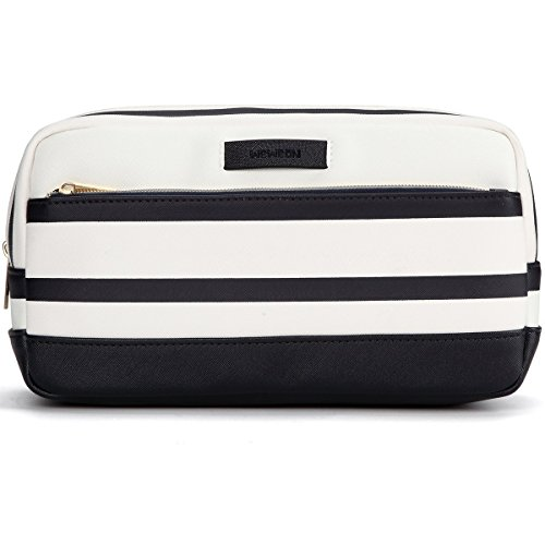Travel Toiletry Bag Makeup Cosmetic Case Best for Men and Women (Blue and White)