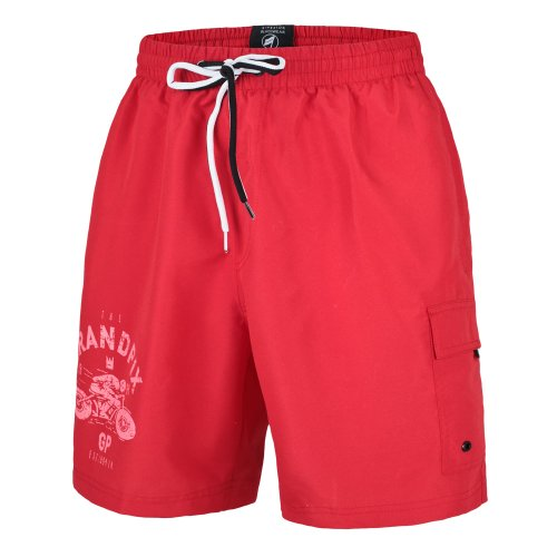 OLYMPIA Herren Badeshorts Badehosen Bermuda Schwimmshorts Shorts Bermudashorts, Neu, (5 / (M), rot)