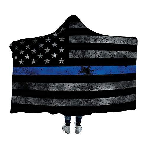 NIKIMI Wearable Decke Hoodie Black American Flag Arctic Velvet Shrink Hoodie Cape Bequemer Decke Hoodie Cape für Jungen und Mädchen.