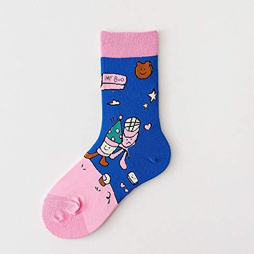 B/H Fahrradsocken ,Herbst und Winter Süßigkeiten Farbe kreative Lolita Cartoon Socken, Flor Socken, Erwachsene Frauen Socken, Baumwollsocken-b blau 6 Paare_35-38 Meter,Damen Unsichtbare Sneaker