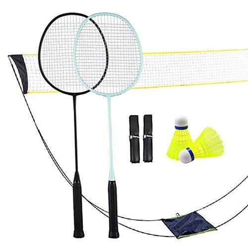 Senston Badminton-Set, tragbares Outdoor-Schläger, Sport-Badminton-Set, zusammenklappbares Tennis-/Badminton-Netz/Indoor-Court, Outdoor, kein Werkzeug oder Heringe erforderlich