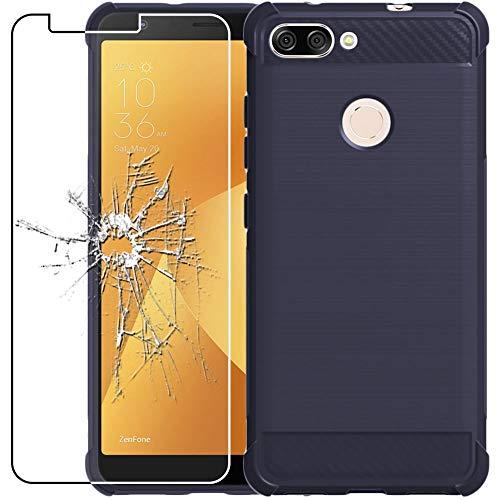 ebestStar - Cover Compatibile con ASUS Zenfone Max Plus M1 ZB570TL Custodia Protezione Silicone Gel Fibra di Carbonio Anti Scivolo, Blu Scuro + Vetro Temperato [Apparecchio: 152.6x73x8.8mm 5.7'']