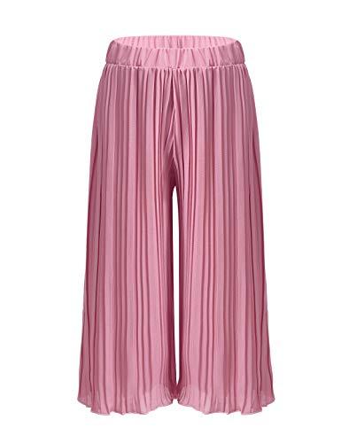 Freebily Kleinkind Mädchen Culottes Hose Sommer Chiffon Hose Elegant Casual Loose Hose Breites Bein Plissee Hose Streetwear Rosa 128-140/8-10 Jahre
