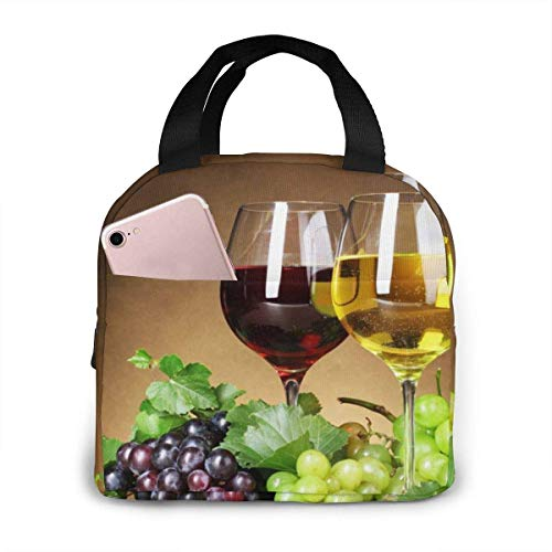 Lunch Box,Grape Wine Lunch Box,Portable Lunch Bags for Adult Travel Climbing,20x21x13cm