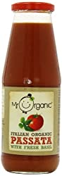 Organic passata with fresh basil Made with italian tomatoes and fresh basil Ideal for pasta sauces, soups and stews No added salt or sugar Recyclable packaging