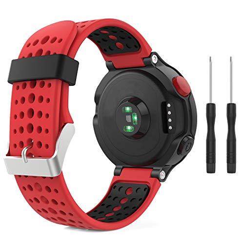 kytuwy Kompatibel Garmin Forerunner 235 Armband, Ersatz-Armband Armbanduhr Ersatzarmband Weiches Silikon Ersatz Uhrenarmbänd Einstellbar Uhrenband für Forerunner 235/220/230/620/630/735XT WHR Laufuhr