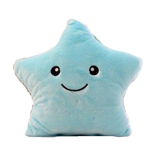 Qinlee Kissen Niedlich Sterne Form Kopfkissen Kissen werfen Auto Kissen Ultra Bequem Kissenkern Sofakissen Plüsch Spielzeug Zierkissenbezüge für Haus, Auto und Büro (Blau)