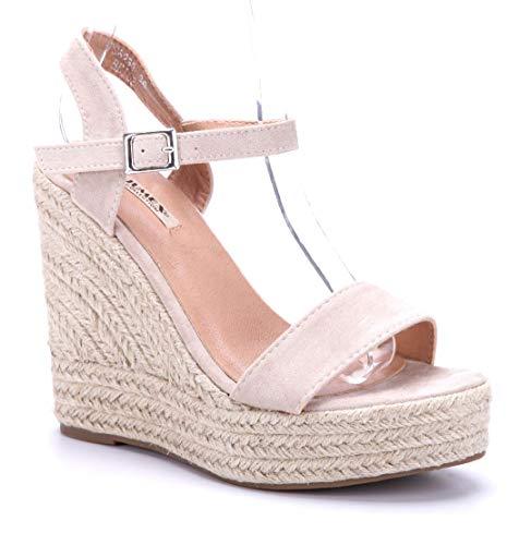 Schuhtempel24 Damen Schuhe Keilsandaletten Sandalen Sandaletten beige Keilabsatz 12 cm High Heels