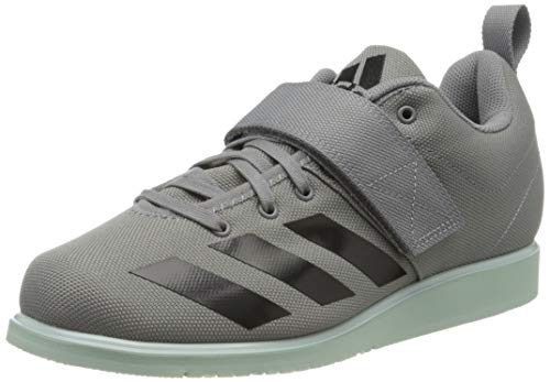 adidas Mens Powerlift 4 Indoor Court Shoe, Grey/Core Black/Green Tint, 39 1/3 EU