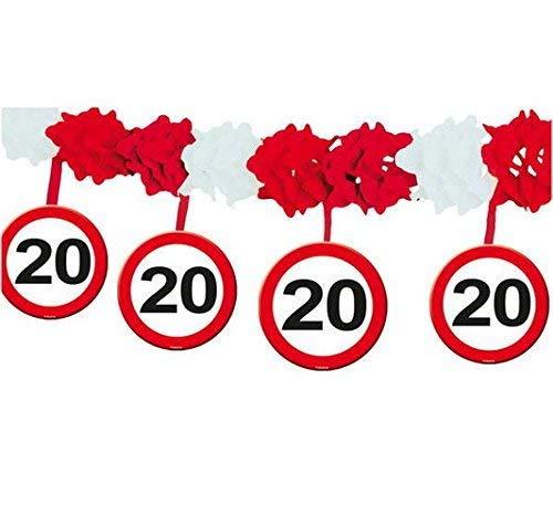 bb10 Schmuck 20.Geburtstag Deko Papiergirlande mit Zahl 20 Girlande mit 12 Verkehrsschilder und 4m lang Dekoration zum 20er Geburtstag Party oder andere Anlässe