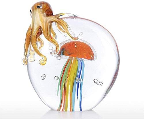 ZHIFENGLIU Farbe Octopus und Quallen Skulptur handgemachte Glas Ornament Tierfigur Home Decor Geschenk Wohnaccessoires