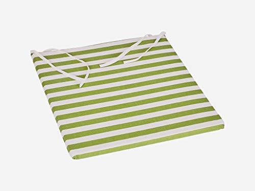 Mijn huis strepen/effen groen, 3 cm stoel kussen