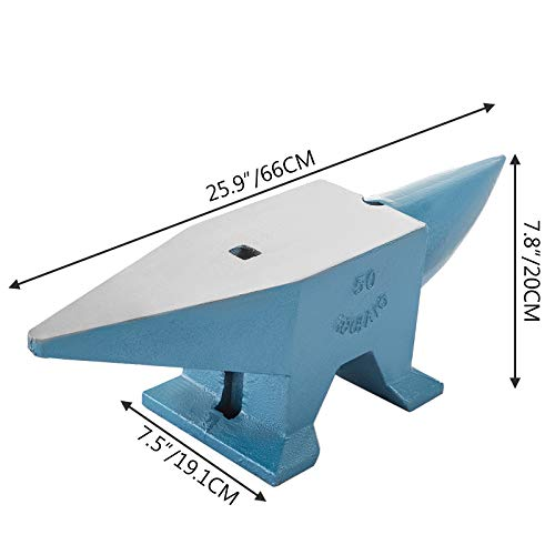 Happybuy Single Horn Anvil 110Lbs Cast Steel Anvil Blacksmith for Sale Forge Steel Tools W/Round and Square Hole and Equipment Anvil Rugged Blacksmith Jewelers Durable and Robust Metal Working Tool
