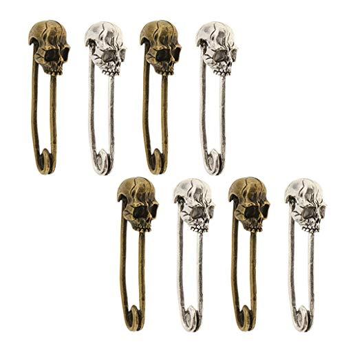 Sharplace 8 Piezas Broches De Seguridad con Cabeza De Calavera De Bronce Broches Alfileres para Mantas Bufandas Suéter