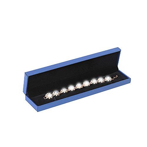 Toruiwa Ecrin Présentoir Boîte de Collier Boîte de Bracelet Boîte à Bijoux en Papier Cadeau pour Mariage/Saint-Valentin (Bleu Foncé)