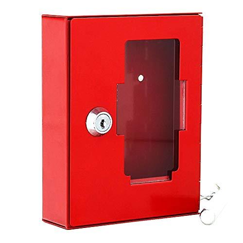 Rottner Notschlüsselkasten NSK1 – mit Glasscheibe – Klöppel zum Aufschlagen – Zylinderschloss – rot