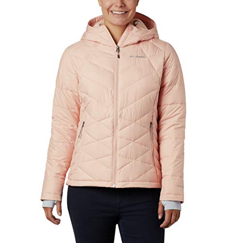 Columbia Women's Heavenly Hooded Water Resistant Insulated Rain Jacket, Peach Cloud, Large