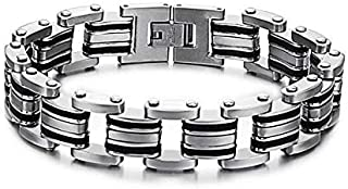 BRACELET Charm stainless steel jewelry 14MM width Black color inlay men bangles