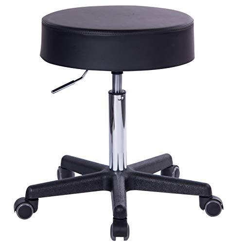 1stuff® Profi Rollhocker Squash - bis 180kg* - 40cm Sitzbreite - Sitzhöhe bis ca. 73cm - Arzthocker Arbeitshocker Bürohocker Praxishocker Drehhocker (schwarz)
