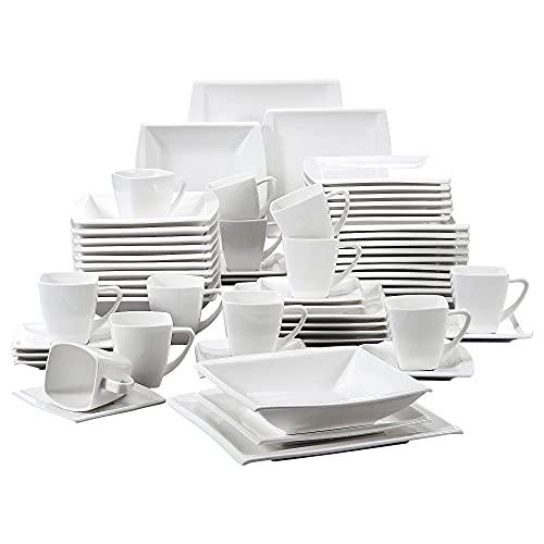 MALACASA, serie Blance, 60 PCS Vajillas de Porcelana Servicio de Cena con 12 Tazas de café, Platillos, Platos de Postre, Platos de Sopa y Platos Vajillas para 12 Personas