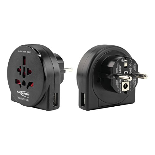ANSMANN universal Reiseadapter 'World to EU' inkl. USB - Reisestecker Adapter Schutzklasse 1 & 2 - für Reisen in Länder mit Schuko Steckdose - Ideal für Reisende aus Australien England Italien USA