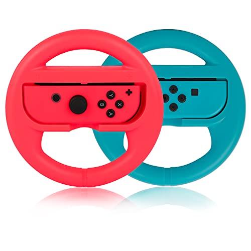 PowerLead Volante para Nintendo Switch Mando, Plástico/ABS 2 Paquetes Volante de Juego de Carreras Compatibles con Mario Kart Rueda de Mando de Juego para Juego Remoto para Nintendo Switch
