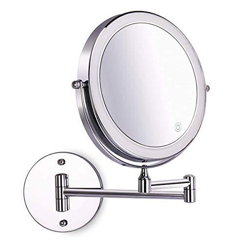 Amelar Kosmetikspiegel LED Beleuchtet mit 1x/10x Fache Vergrößerung Touchscreen Batterie Schminkspiegel Rasierspiegel 360°Schwenkbar Faltbar Wandmontage für Badezimmer