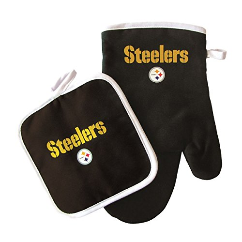 Pro Specialties Group NFL Pittsburgh Steeler Oven Mitt and Pot Holder Set , Black