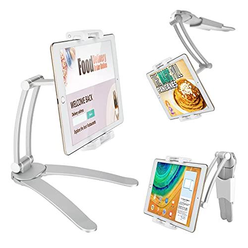 Soporte Tablet Pared, Upkey Multiángulo Soporte Tablet para Movil y Tabletse 2 en 1 de Pared / Escritorio para Tableta de Cocina con ángulos de visión de 360 ° (Plateado)