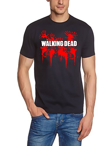 Coole-Fun-T-Shirts Herren The Walking Dead Bloody Hand T-Shirt, Schwarz, XXL