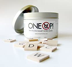 One Up! The Wicked Smart Word Game tin with wooden tile letters