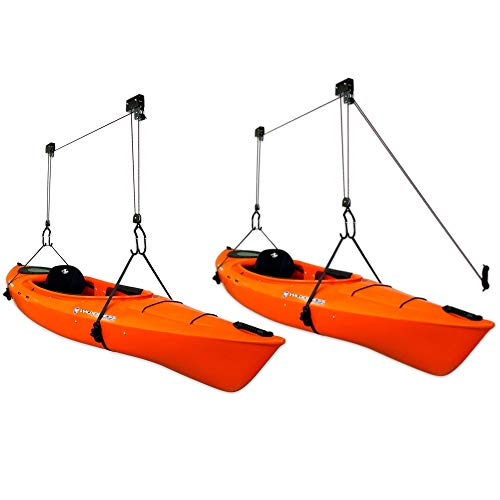 StoreYourBoard 2 Pack Kayak Ceiling Storage Hoist, Hi-Lift Overhead Rack, Indoor Garage Home Hanger, Canoes Paddleboards Boats, Heavy Duty Adjustable Straps, Easy Lifting Accessory (Standard)