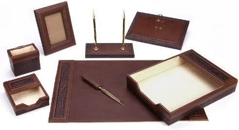 Majestic Goods Office Supply Leather W940 Desk Max 44% OFF trust Set Brown