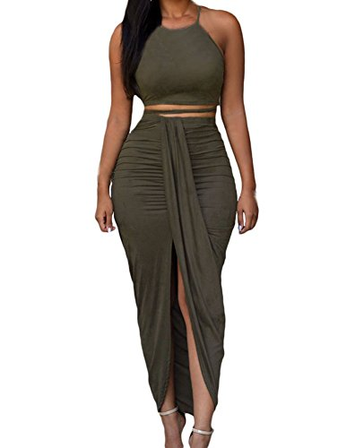 Womens Sexy Cotton Sleeveless Slit Two Piece Maxi Skirt Set M Olive